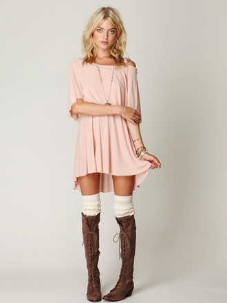 dress pink dress blush blush pink boat neck loose