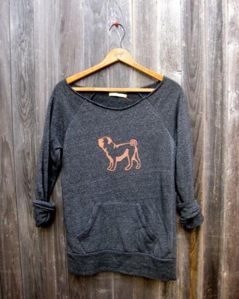 shirt grey peach pug