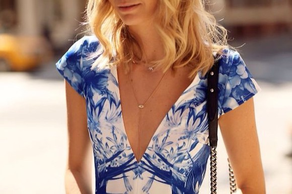 classy style low instagram model you hip blue and white v neck dress v-neck cardigan sweaters v-neck dress low v cut printed t-shirt