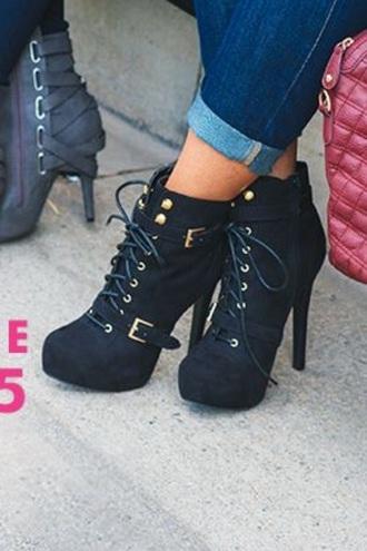 shoes boots buckles cute shoes platform lace up boots