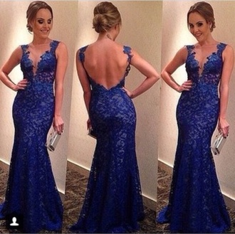 dress blue dress backless blue lace lace prom dress form prom formal formal dress blue formal blue prom backless prom dress