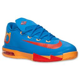 Boys' Grade School Nike KD VI Basketball Shoes| FinishLine.com | Photo Blue/Team Orange/Atomic Mango