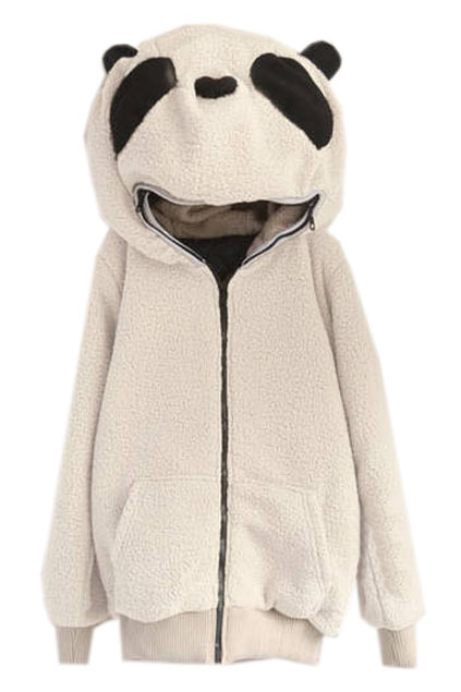 ROMWE | Panda Shaped Hooded Zippered Elastic Cream Coat, The Latest Street Fashion