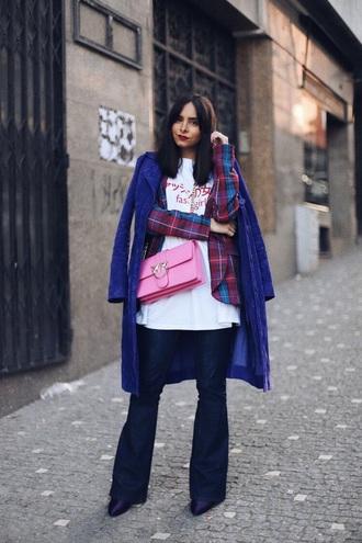 bag pink bag blazer tartan blazer flare jeans coat blue coat crossbody bag t-shirt white t-shirt jeans