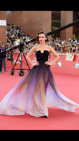redcarpet pretty dress prom dress purple dress colorful lily collins