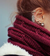 jewels,jewelry,earrings,burgundy,feather earrings,scarf,girl,cute,red scarf,red,earings,feathers,ear cuff,piercing,helix piercing