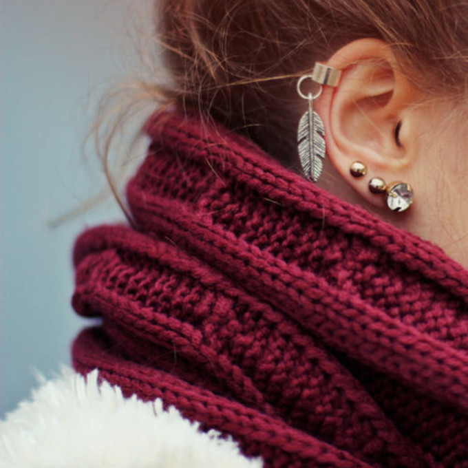 jewels earrings scarf girl cute earrings red red scarf earrings nail polish feather ear cuff silver twist on earrings with leave scarf red