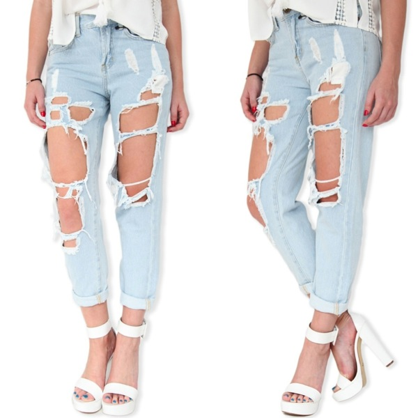 Boyfriend shredded ripped jeans blue 6 8 10 12 24 25 26 27 28 29 30 31