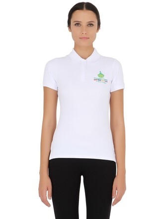 shirt polo shirt cotton white top
