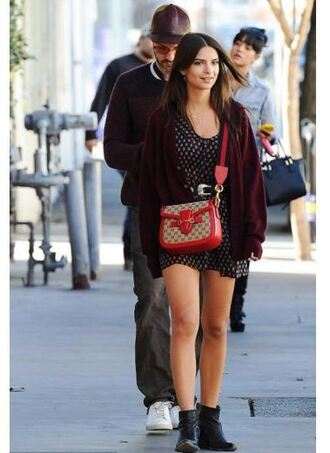 bag purse emily ratajkowski ankle boots dress cardigan spring outfits