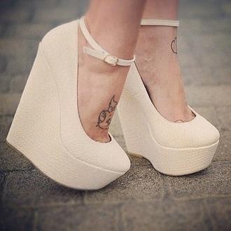 wedges wedge heels beige beige shoes strappy heels ankle strap heels ankle strap high heels heels cream high heels cream