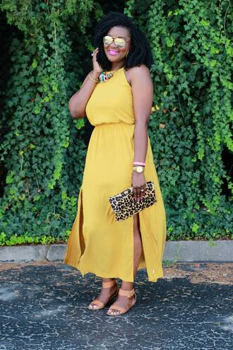 c's evolution of style - a fashion + lifestyle blog by chioma brown blogger dress bag shoes jewels sunglasses make-up date outfit yellow dress yellow slit dress