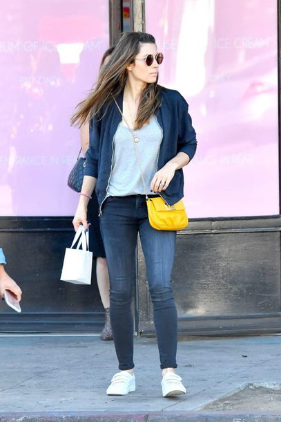 shoes sneakers bomber jacket jessica biel jeans top streetstyle fall outfits