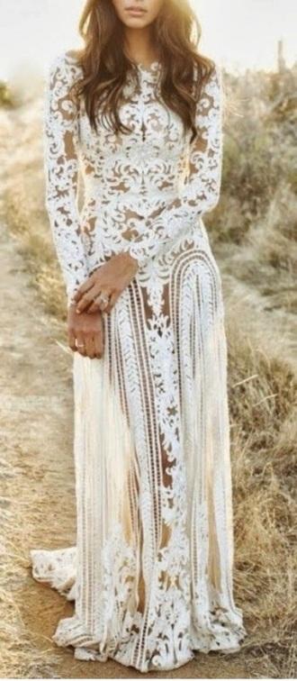 dress wedding dress prom dress lace dress lace wedding dresses white dress white lace dress boho dress boho wedding dress beach wedding