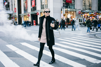 damsel in dior blogger dress coat tights shoes bag