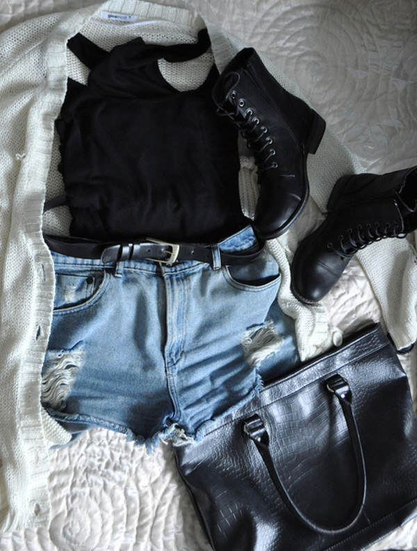 shoes black white cardigan shorts belt bag tank top combat boots