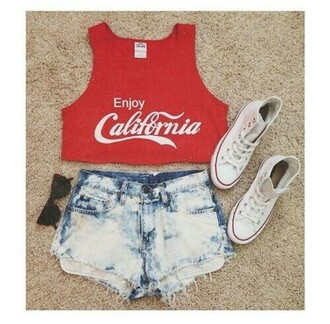 top coca cola red white stone wash denim jeans fashion converse sunglasses crop tops shorts