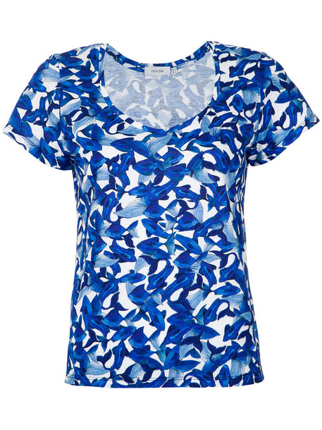 isolda t-shirt shirt printed t-shirt t-shirt women cotton blue top