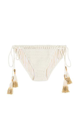 bikini bikini bottoms cheeky bikini cheeky crochet white swimwear