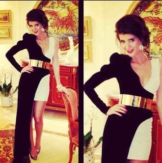 dress one black and white ascot maxi dress short dress little black dress prom dress belt