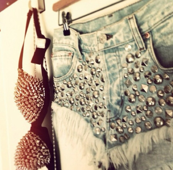 shorts spiked bra studded shorts high waisted denim shorts
