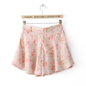romantic cute floral vintage fashion shorts retro pink high waisted shorts baby pink
