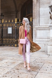 shoes,embellished,pumps,high heel pumps,pants,pink pants,top,pink top,coat,camel coat