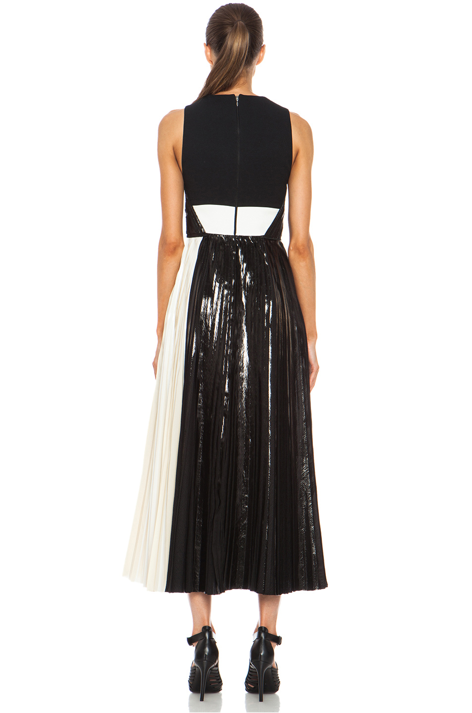 Proenza Schouler|Foil Print Poly Pleated Dress in Black, Silver & White