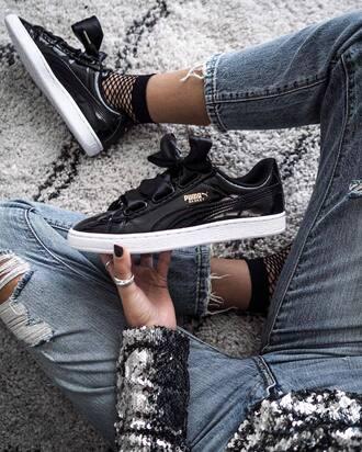 socks tumblr sneakers black sneakers puma sneakers low top sneakers puma denim jeans blue jeans ripped jeans sequins sequin blouse ring fishnet socks