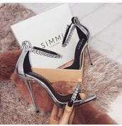 shoes,silver diamanté heels,silver heels,stunning diamonds heels