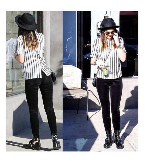 stripes striped shirt blouse girl kylie ootd kylie jenner girly