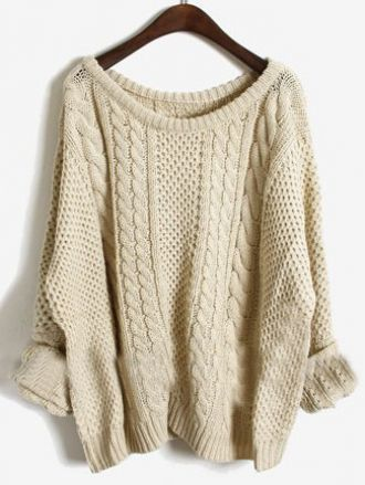 Apricot batwing long sleeve pullovers sweater