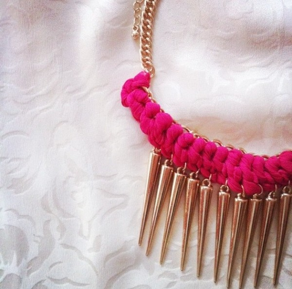 jewels necklace pink necklace gold necklace jewelry primark