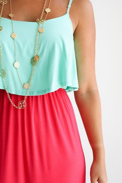 Dress Maxi Color Block Dress Jewels Pink Blue Pink