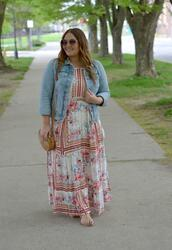 mommyinheels,blogger,dress,jacket,bag,shoes,jewels,sunglasses,denim jacket,maxi dress,shoulder bag,round bag