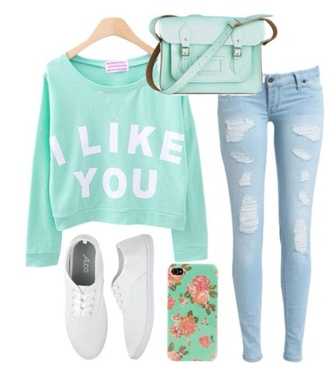 top mint girly jeans