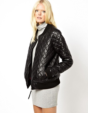 Just Female | Just Female Quilted Leather Bomber Jacket at ASOS