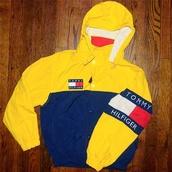coat,tommy hilfiger jacket,tommy hilfiger,cute,jacket,yellow,hoodie,th,windbreaker,blue,tommy hilfiger windbreaker,90s style,vintage,old school,red,tommy hillfiger,pullover