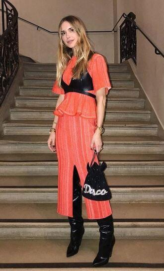 blouse top coral pernille teisbaek blogger boots two-piece skirt slit skirt midi skirt paris fashion week 2018