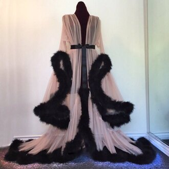 pajamas robe pink black flowly elegant sheer fur feathers clothes
