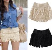 shorts,skorts,skirt,lace shorts,short,black shorts,white shorts