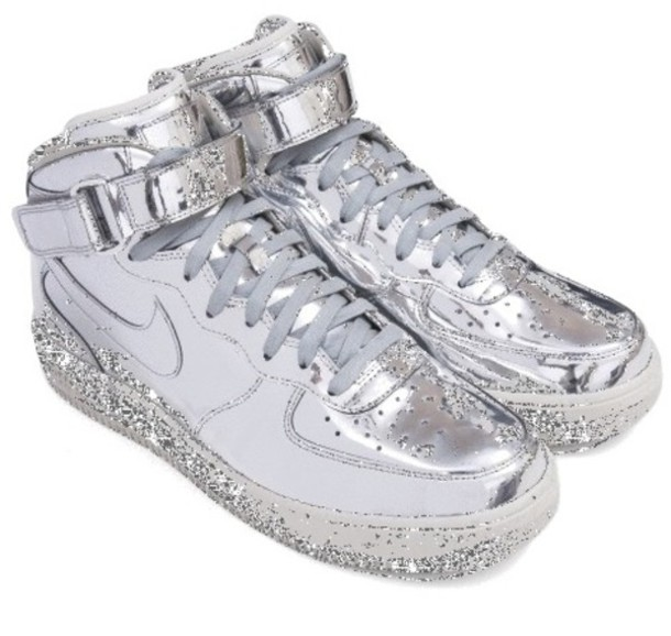 shoes nike nike silver swag sneakers