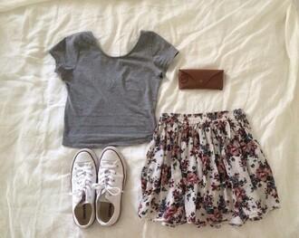 skirt floral floral skirt floralskirt vintage vintageskirt retro chick style goodtaste fashion fashionsense shoes shirt