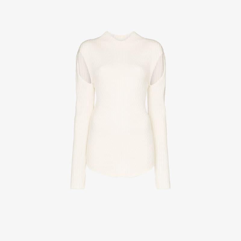Low Classic Ribbed cutout knit top