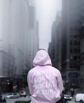 sweater,antisocial,social,clubwear,jumper,pink,lightpink,antisocial social club,tumblr,hoodie