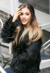 amazing,fur,black coat,ariana grande,fluffy