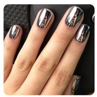 nail polish silver shiny nail mirror