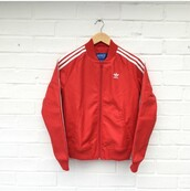 jacket,adidas,bomber jacket,red jacket