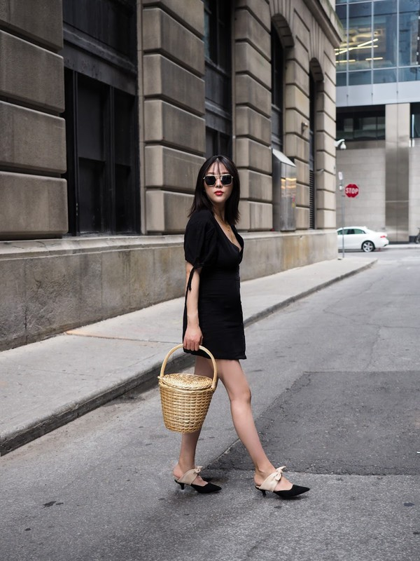 dress tumblr black dress little black dress mini dress shoes mules black shoes bag basket bag