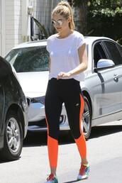 leggings,sportswear,gigi hadid,sneakers,top,shoes,workout leggings